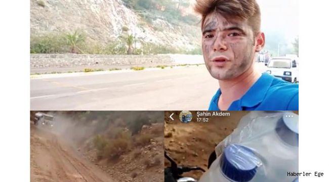 Ekiplere su taşırken hayatını kaybeden Şahin'den geriye çektiği bu görüntüler kaldı